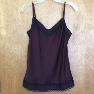 Ann Taylor Cami Top, Purple with Black Lace